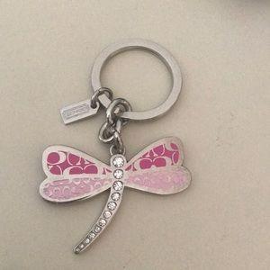 Silver tone Coach dragonfly key chain